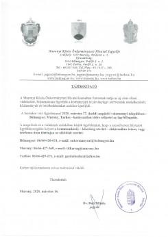 Tájékoztatás a Közös Önkormányzati Hivatal ügyfél fogadási rendjének szüneteltetéséről